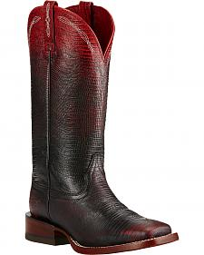 Ariat Red Ombre Lizard Print Cowgirl Boots - Square Toe