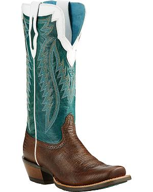 Ariat Chocolate Futurity Lizard Print Cowgirl Boots - Square Toe