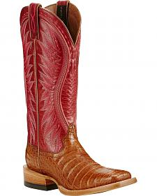 Ariat Vaquera Oiled Caiman Belly Cowgirl Boots - Square Toe