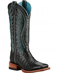 Ariat Vaquera Caiman Belly Cowgirl Boots - Square Toe