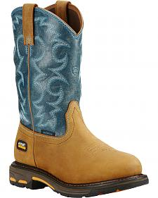 Ariat Women's Blue Workhog H2O Cowgirl Work Boots - Round Toe