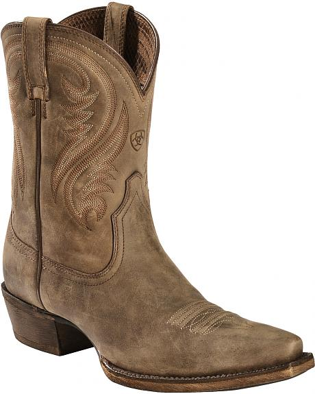 Ariat Brown Willow Short Cowgirl Boots - Snip Toe
