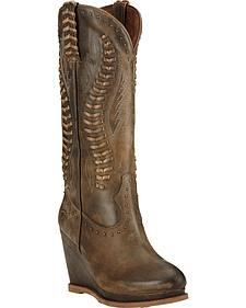 Ariat Dark Chocolate Nashville Wedge Cowgirl Boots - Round Toe