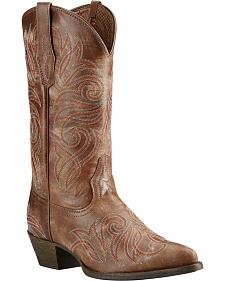 Ariat Brown Round Up Cowgirl Boots - Pointed Toe