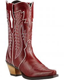 Ariat Lipstick Red Calamity Cowgirl Boots - Snip Toe
