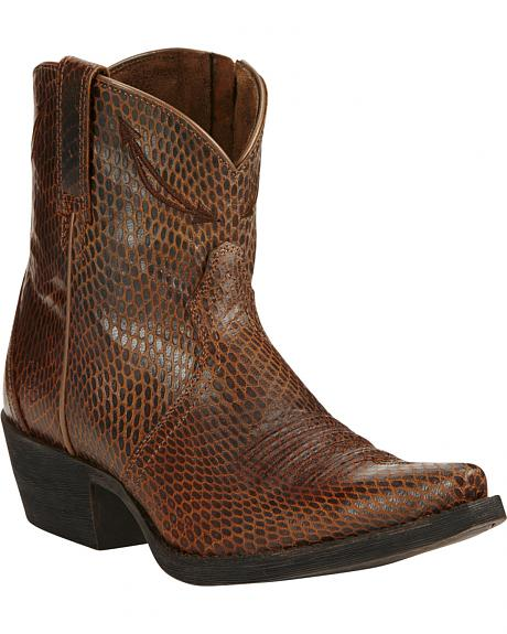 Ariat Sassy Brown Marilyn Short Cowgirl Boots - Snip Toe