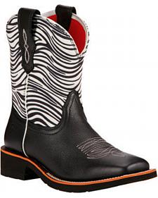 Ariat Zebra Print Rosie Fatbaby Cowgirl Boots - Square Toe