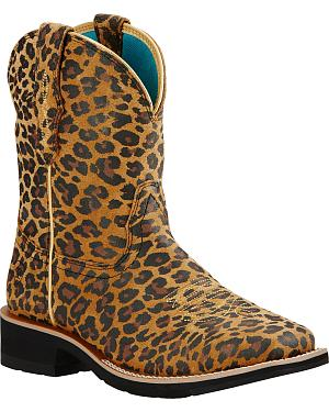 Ariat Leopard Wild Rosie Fatbaby Cowgirl Boots - Square Toe