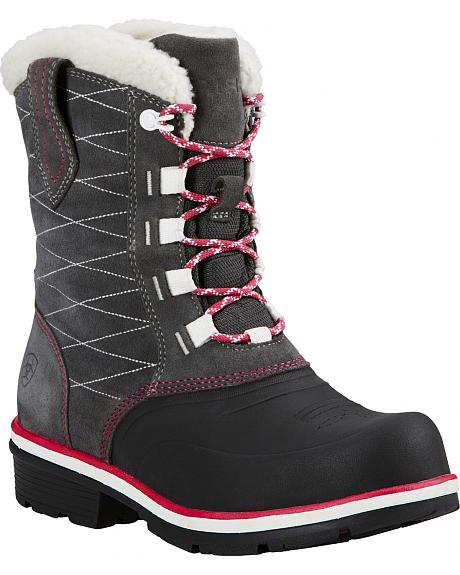 Ariat Pewter Whirlwind Cozy Lace-Up Cowgirl Boots - Round Toe