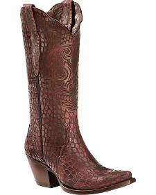 Ariat Red Croc Print Katrina Cowgirl Boots - Snip Toe