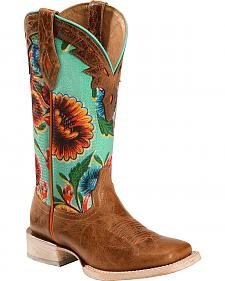 Ariat Floral Textile Circuit Champion Cowgirl Boots - Square Toe