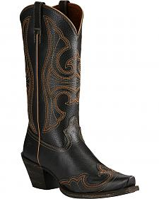 Ariat Black Round-Up Wingtip Cowgirl Boots - Snip Toe