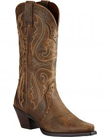 Ariat Women's Brown Heritage Western Boots - Snip Toe