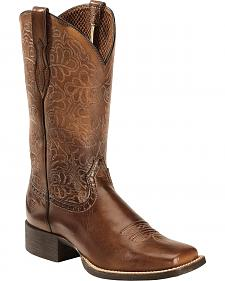 Ariat Rich Brown Round Up Remuda Cowgirl Boots - Square Toe