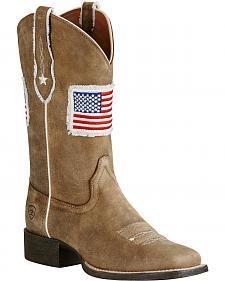 Ariat Women's Sand Patriot Flag Cowgirl Boots - Square Toe