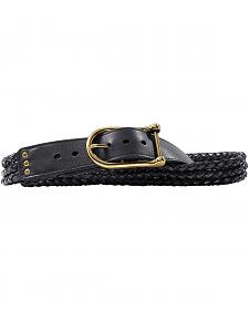 Women's Braided Black Leather Belt