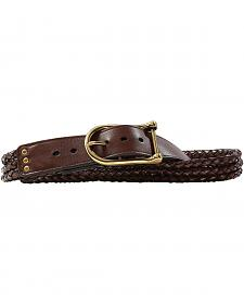 Women's Braided Brown Leather Belt