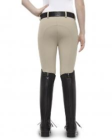 Ariat Girls' Olympia Low Rise Front-Zip Knee Patch Breeches