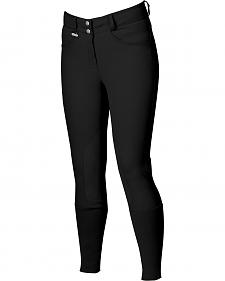 Dublin Active Slender Euro Seat Front Zip Breeches - Black