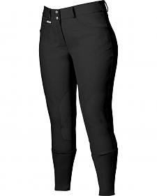 Dublin Active Shapely Euro Seat Front Zip Breeches - Black