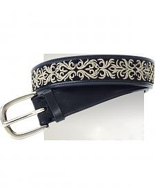 Ovation Women's Filigree Embroidered Wide Belt