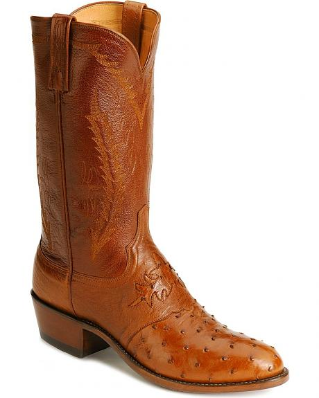 Lucchese Boots - Handcrafted 1883 Full Quill Ostrich Cowboy Boots - Medium Toe