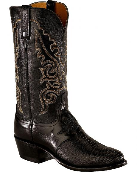 Lucchese Handcrafted Diego Lizard Inlay Western Boots - Medium Toe