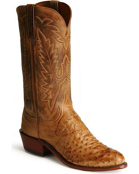 Handcrafted Lucchese 1883 Burnished Tan Full Quill Ostrich Boots