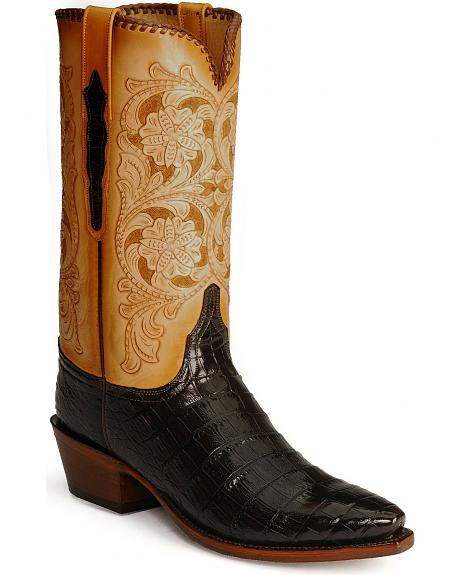 Handcrafted Lucchese Classics Tooled Caiman Belly Cowboy Boots - Snip Toe