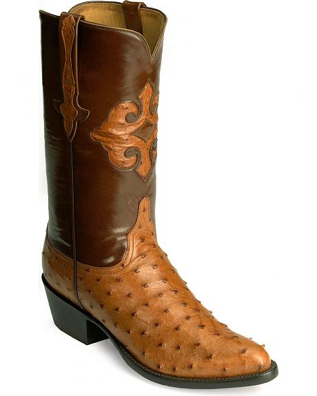 Handcrafted Lucchese Full Quill Ostrich Inlay Western Boots - Pointed Toe