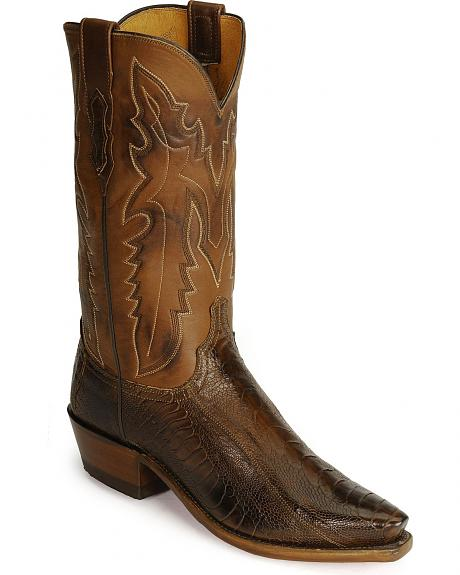 Lucchese Boots - Handcrafted 1883 Matte Ostrich Leg Cowboy Boots - Snip Toe