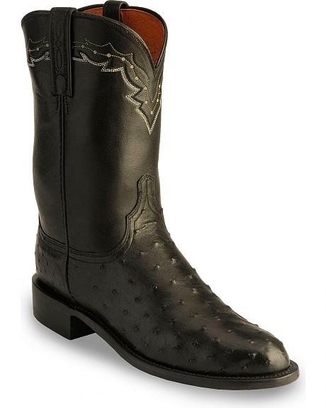 Lucchese Handcrafted 1883 Full Quill Ostrich Roper Boots - Round Toe