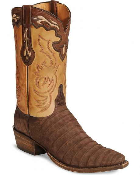 Lucchese Handcrafted Classics Sueded Caiman Cowboy Boots - Snip Toe