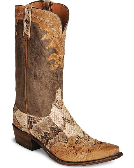 Lucchese Handcrafted 1883 Texas Wingtip Snake Cowboy Boots - Snip Toe
