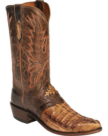 Lucchese Boots - Handcrafted 1883 Hornback Caiman Alligator Cowboy Boot-Snip Toe