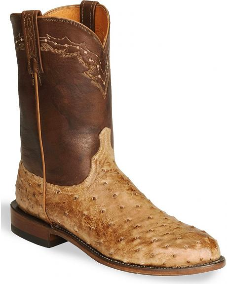 Lucchese Boots - Handcrafted Burnished Tan Ostrich Roper Boot - Roper Toe