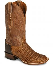 Lucchese Handcrafted Waxy Hornback Caiman Cowboy Boots - Square Toe