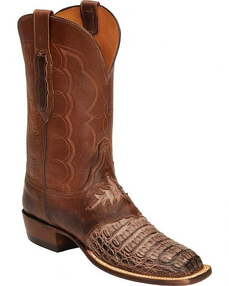 Lucchese Handcrafted  Waxy Hornback Diego Inlay Cowboy Boots - Square Toe