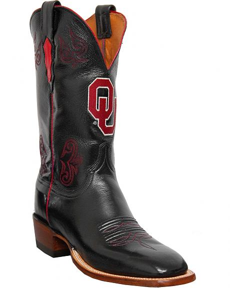 Lucchese Handcrafted University of Oklahoma Lonestar Calf Cowboy Boots