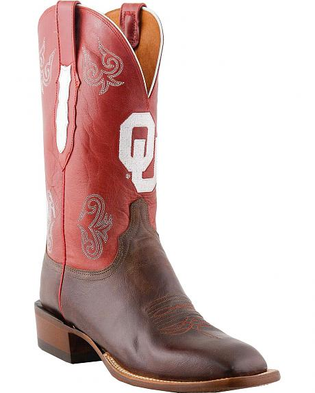 Lucchese Handcrafted University of Oklahoma Red Madras Goat Cowboy Boots