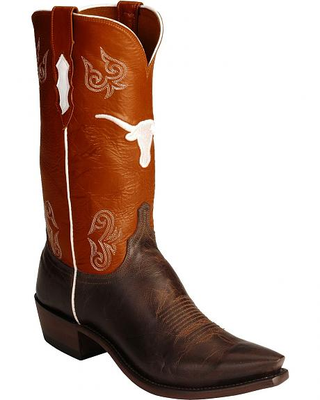Lucchese Handcrafted 1883 Orange Texas Longhorns Cowboy Boots - Snip Toe