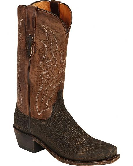 Lucchese Handcrafted 1883 Sanded Shark Cowboy Boots - Snip Toe