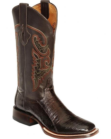 Lucchese Horseman Ostrich Shoulder Cowboy Boots- Square Toe