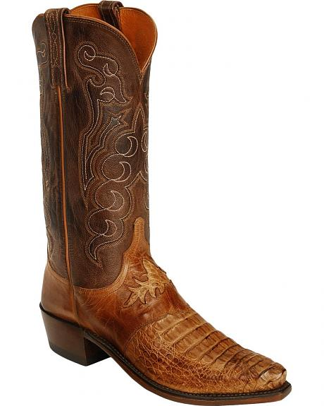 Lucchese 1883 Waxy Hornback Caiman Diego Boots - Snip Toe