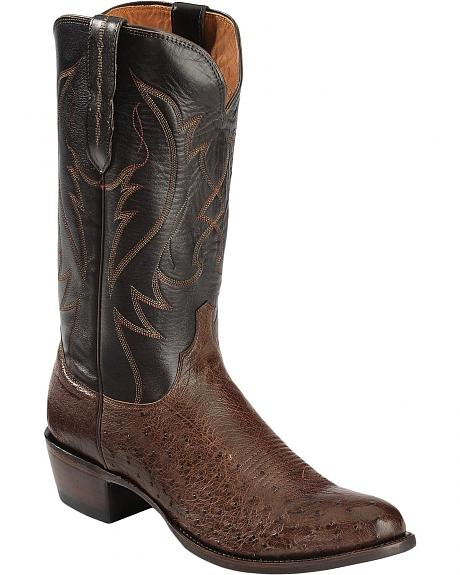 Lucchese Handcrafted 1883 Smooth Ostrich Cowboy Boots - Round Toe