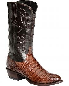 Lucchese Handcrafted 1883 Crocodile Belly Cowboy Boots - Round Toe