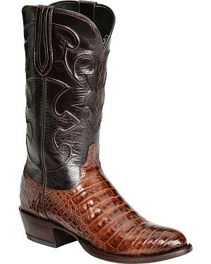 Lucchese Handcrafted 1883 Caiman Belly Cowboy Boots - Round Toe