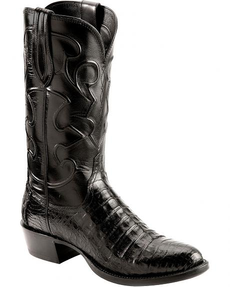 Lucchese Handcrafted 1883 Black Crocodile Belly Cowboy Boots - Round Toe