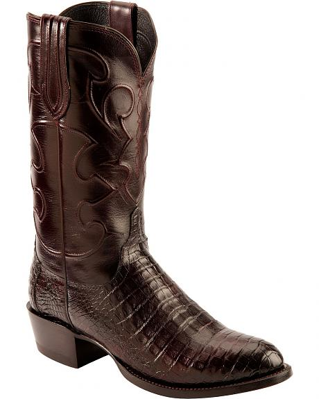 Lucchese Handcrafted 1883 Black Cherry Crocodile Belly Cowboy Boots - Round Toe