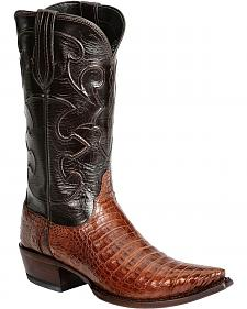 Lucchese Handcrafted 1883 Black & Tan Crocodile Belly Cowboy Boots - Snip Toe